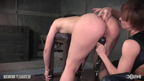 Tight tying, domination and pain for very hot dark brown
