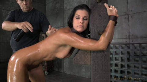 Stunning MILF India Summer belted down to a post and bred