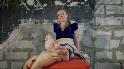 HD Pain play Sex Clips Her 1st foot tickling with various devices