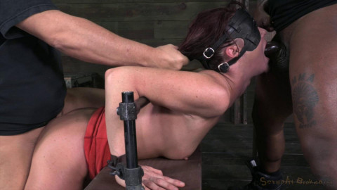 Cici Rhodes in Tall sexy MILF bound is custom metal and leather bondage (2013)