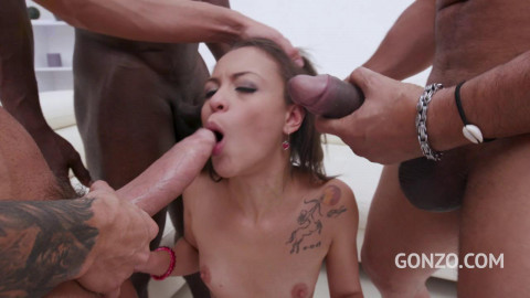 Tiny Babe Polly Petrova Gangbanged With Dap & First Triple Fuck