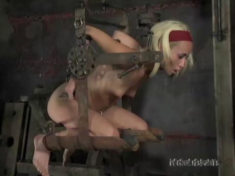 Steel shackles, locking gags, metal and wood stocks, and elaborate device bondage