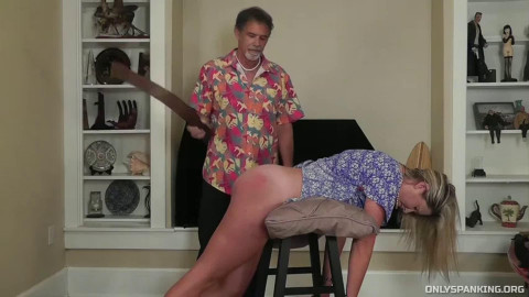 Hard spanking and domination for very lascivious golden-haired
