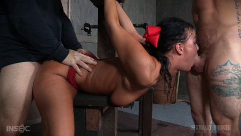 London River Struggles In Bondage While Being Fucked, Swallowing Cock and Cumming! (2016)