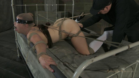 Bella Rossis mouth is gagged open, rough skull fucking, dicked down from behind