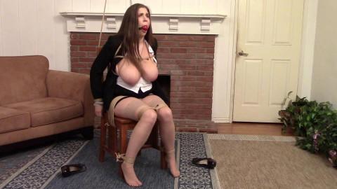BigBoobed BallGagged Secretary struggles ChairBound - Miss Alex Chance