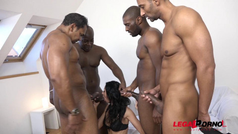 Sexy Babe Gangbanged By Big Black Dicks WIth Double Anal
