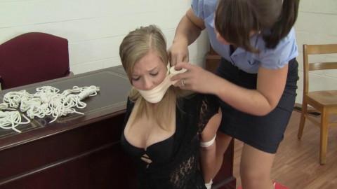 Madison Price & Elizabeth Andrews - Bound For The Head Secretaries Pleasure
