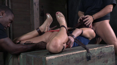 Lanky fit redhead Cici Rhodes hogtied on a box and made to service cocks , HD 720p