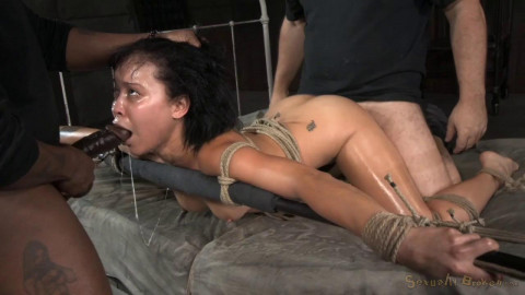Mia Austin is tightly tied with drooling deepthroat and brutal fucking!