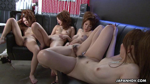 Karin, saki, shiho and yuki are having pleasure in the night club