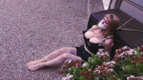 Big-Boobed Babe Bound in Silky Slip Outdoors