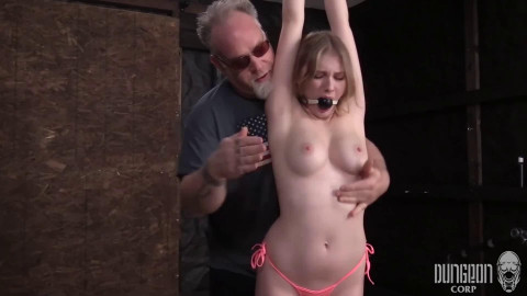 Tight tying, strappado and spanking for nude hawt cutie part 1