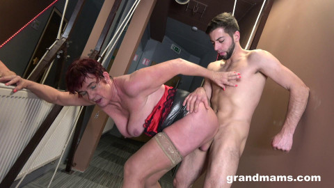 Lonely granny in swingers club