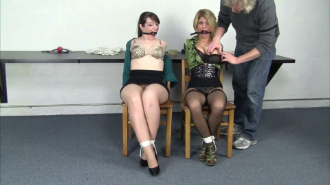 Carissa Montgomery And Elizabeth Andrews Trying On Gags For Mr Big Boss (2015)