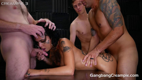 Creampie GangBang For Tattooed Babe
