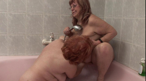 Nasty grannies in bathroom lesbian action