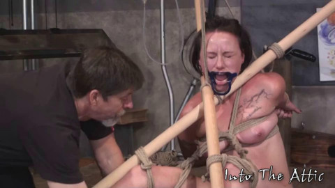 Tying, strappado, spanking and pain for exposed beauty part ASS TO MOUTH