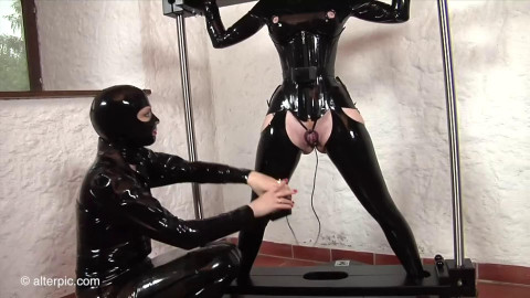Tight bondage, spanking and torture for sexy slavegirl in latex HD1080