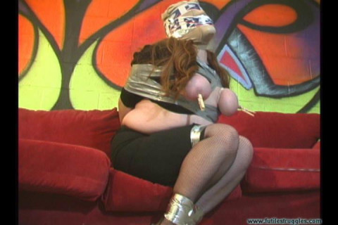 Full Figured Woman Groped Taped Hooded Breastbound and Clothespinned