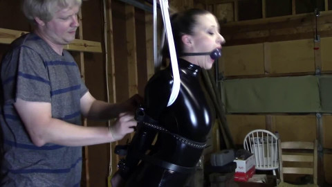 Bondage, strappado and hog tie for lustful gal in latex