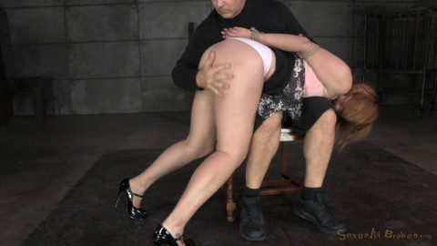 Claire Robbins tightly tied and trained as dungeon sex slave