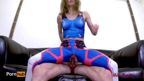 Overwatch d.va cosplay throated and anal creampied