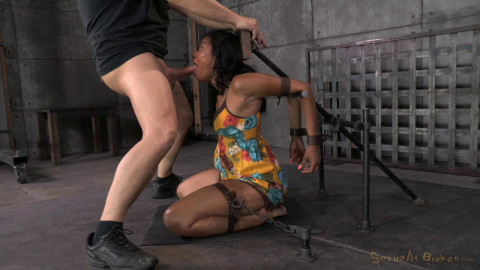 brutal deep throat while bound, massive orgasms!