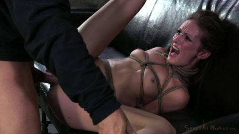 Lanky model Hailey Young rag doll fucked all over a couch while tightly bound