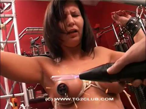 Bondage boobs and punching needles brunette (2014)