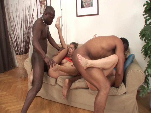 Two hot babes fucked by massive black cocks
