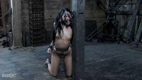 Constricted restraint bondage, spanking and suffering for exposed hawt whore part ASS TO MOUTH