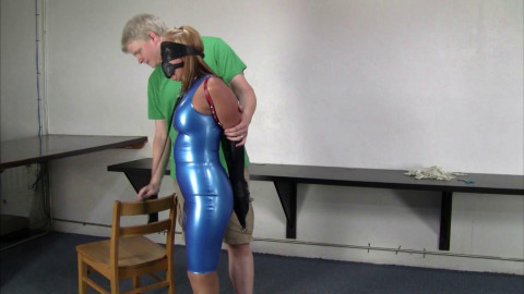 Crystal Frost - Secretary in a blue latex costume, collared, leashed & tutored