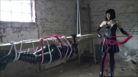 Super bondage, domination and strappado for two hot girls in latex