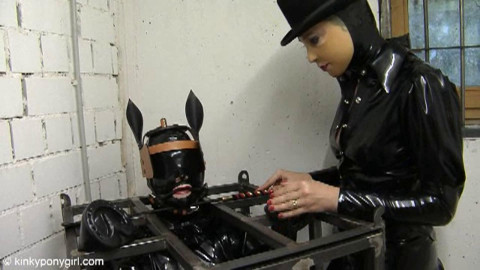 HD Power exchange Sex Vids Caged Ponygirl and a Fake penis Pole
