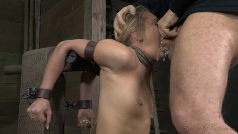 AJ Applegate shackled and blindfolded, facefucked with brutal challenging deepthroat