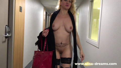 Flashing naked in the corridors and reception of a hotel