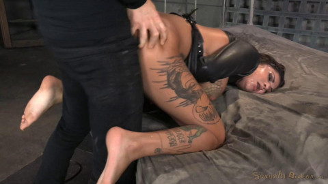 AVN winner Bonnie Rotten bound in a straightjacket and roughly fucked hard, epic deepthroat!