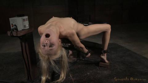 Petite deepthroat champ Odette Delacroix shackled fucking machine facefucked (2015)