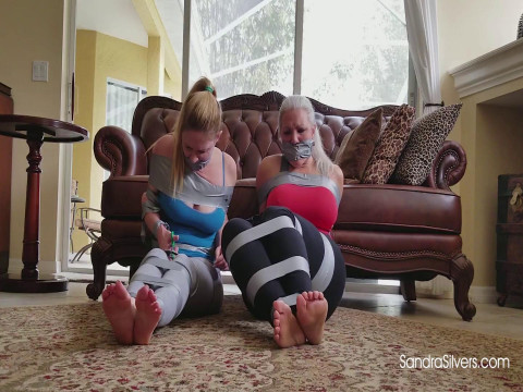 Barefoot, Yoga MILFs, Duct Taped, Gagged on -Screen by Burglar