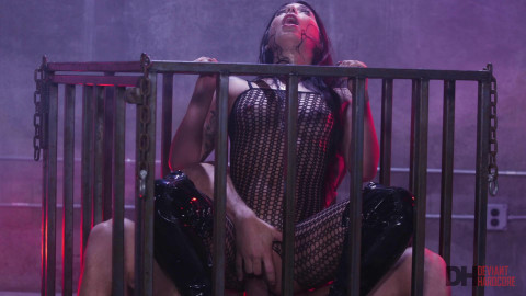DeviantHardcore - Submissive latin chick Gina Valentina receives fucked into ass in a cage