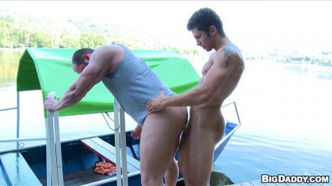 A handsome boy fucks a big guy at the pier