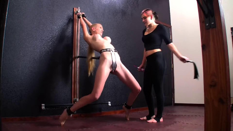 Super restraint bondage spanking and punishment for charming golden-haired HD 1080p