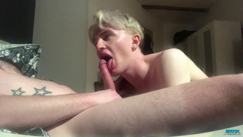Blond Boy Gobbles Big Cock - Wank Over Me