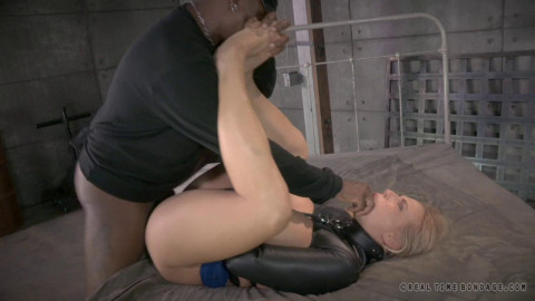 Sexy MILF Angel Allwood bound, straightjacketed, fucked doggystyle by BBC with epic deepthroat!