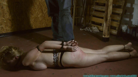 Allegra HogCuffed, Crotch Chained, then Crotch Roped