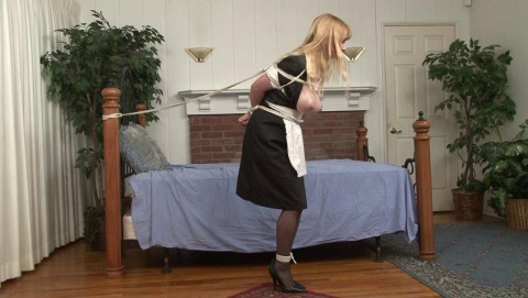 Topless Maid Lorelei is Tethered to the Bed