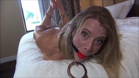 Bondage, hog tie and predicament for undressed blond
