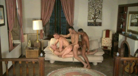 Muscle men in aristocratic gangbang with DP