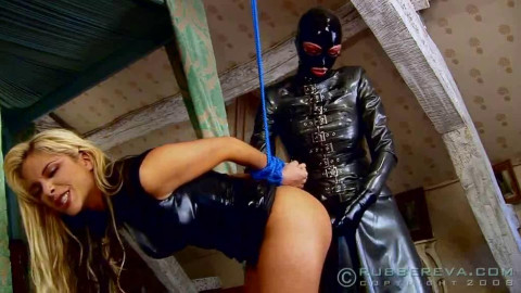 Bondage, strappado and torture for beautiful blonde in latex